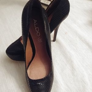 ALDO Womens Black Pumps Heels Faux Snakeskin